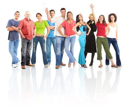 Happy funny people. Isolated over white background Stock Photo - 5493713