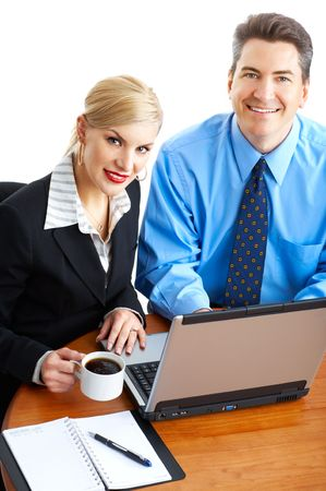 business people working with laptop. Over white background  photo