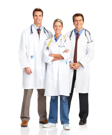 medical doctors: Smiling medical people with stethoscopes. Doctors and nurses over white background  Stock Photo