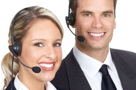 customer service representative: Smiling  business people  with headsets. Over white background   Stock Photo