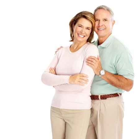 Happy elderly couple in love. Isolated over white background   photo