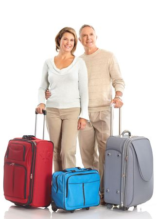 Smiling happy elderly couple. Isolated over white background Stock Photo - 5604178