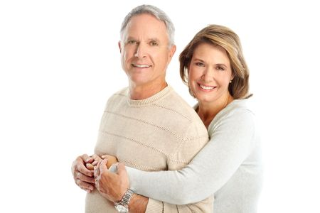 young to old: Happy elderly couple in love. Isolated over white background   Stock Photo