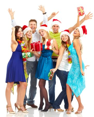 white wine: Happy funny people. Christmas. Party. Isolated over white background