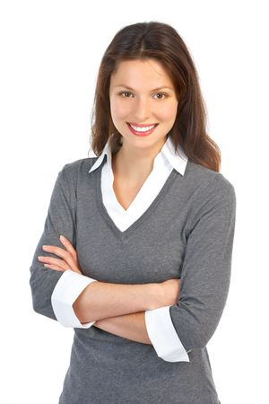 Smiling business woman. Isolated over white background  photo