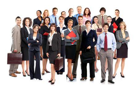 werk: Grote groep van lachende mensen uit het bedrijfsleven. Over witte achtergrond