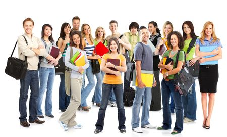 Big group of the young smiling  students. Over white background Stock Photo - 5763586
