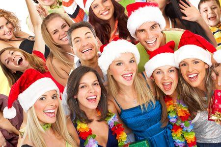 euforia: Happy funny people. Fiesta de Navidad