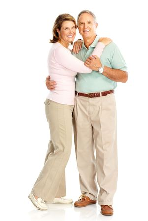retired couple: Happy elderly couple in love. Isolated over white background