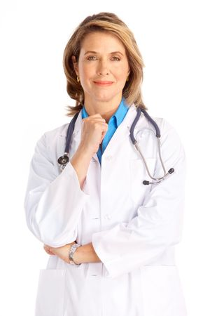 apprentice: Smiling medical doctor woman with stethoscope. Isolated over white background  Stock Photo