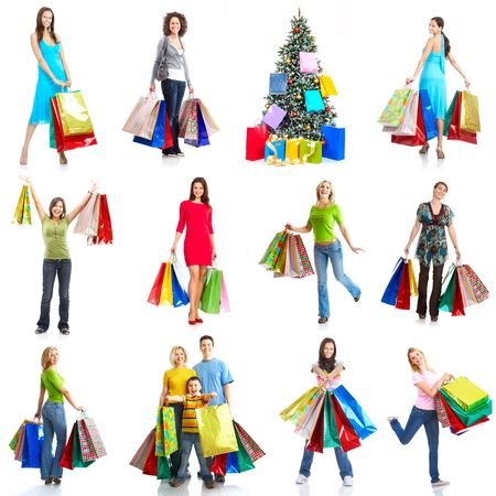 Christmas shopping woman. Isolated over white background