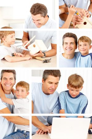 Happy family. Father and son working at home  photo