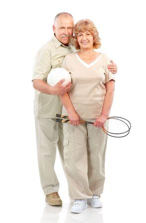 Active elderly couple. Isolated over white background  photo