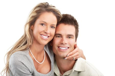 Happy smiling couple in love. Over white background Stock Photo - 5771489