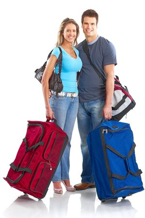 Happy smiling couple tourists. Over white background Stock Photo - 5771501