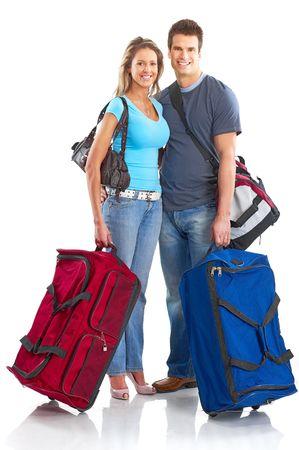 viajero: Happy turistas pareja sonriente. Sobre fondo blanco
