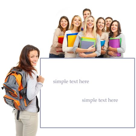 graduate student: Large group of smiling  students. Isolated over white background