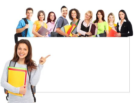 estudiantes universitarios: Gran grupo de estudiantes sonrientes. Aislado sobre fondo blanco