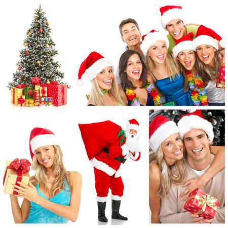 christmas gift: Young happy people near the Christmas tree. Isolated over white background