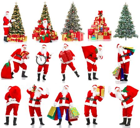 decorating christmas tree: Smiling Santa and Christmas Tree. Over white background