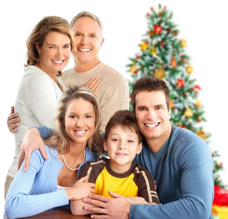 huge tree: Happy family. Isolated over white background