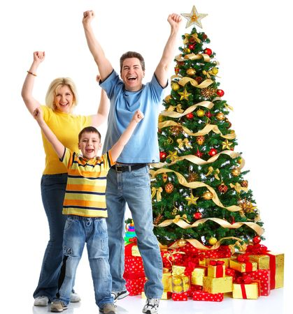 christmas backgrounds: Family and a Christmas Tree. Over white background