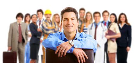 werk: Grote groep Glimlachende zaken mensen. Via de witte achtergrond