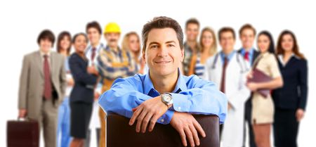 men at work: Large group of smiling business people. Over white background