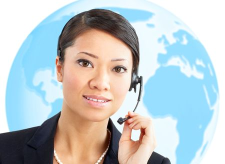 Beautiful  call center operator with headset. Over white background Stock Photo - 5849575