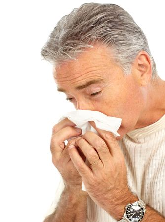 grippe: man having the flu. Isolated over white background  Stock Photo