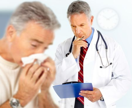 grippe: Doctor and man having the flu.