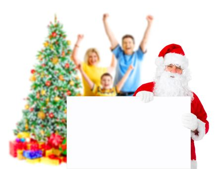 Family, Santa and a Christmas Tree. Over white background  Stock Photo