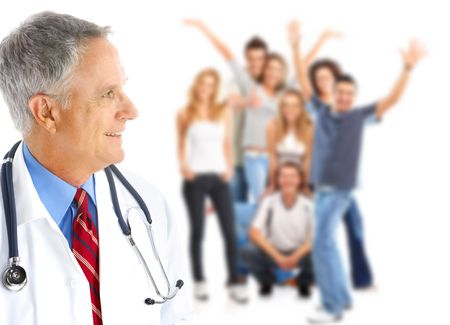 health insurance: Smiling  medical doctor and young people. Over white background