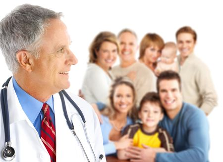 family practitioner: Smiling family medical doctor and big family. Over white background
