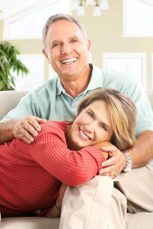Happy smiling elderly couple at home Stock Photo - 5849648