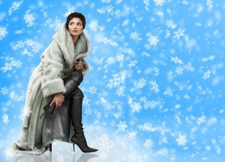 manteau de fourrure: Belle femme dans un manteau de fourrure. Sur fond bleu