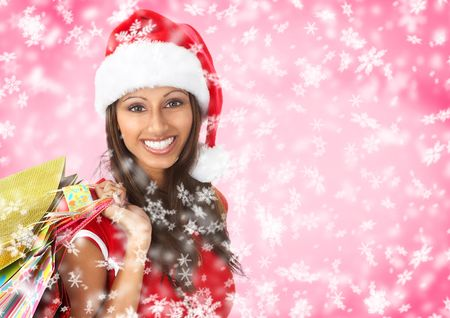 winter woman: Christmas shopping smiling Santa  woman . Over red  background