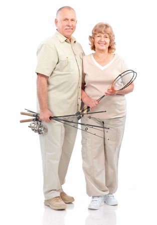 old people: Active senior couple. Isolated over white background  Stock Photo