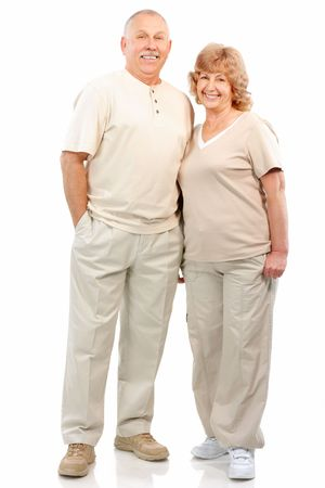Senior couple in love. Isolated over white background Stock Photo - 5904212