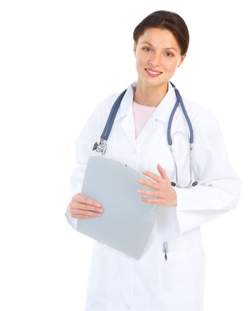 doc: Smiling medical doctor with stethoscope. Isolated over white background Stock Photo