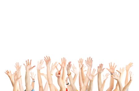 celebration: A lot of hands. Isolated over white background