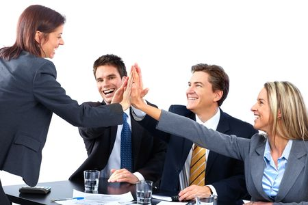 Smiling business people team working in the office Stock Photo - 6352918
