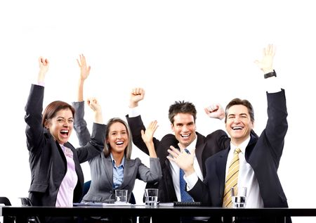 Happy smiling business people team working in the office Stock Photo - 6352798