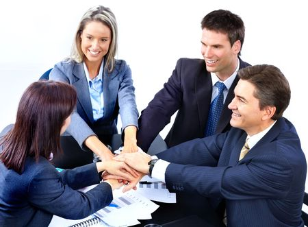 Smiling business people team working in the office Stock Photo - 6352916