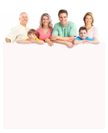 Happy family. Isolated over white background Stock Photo - 6949096