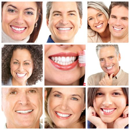Faces of smiling people. Teeth care. Smile Stock Photo - 6949119