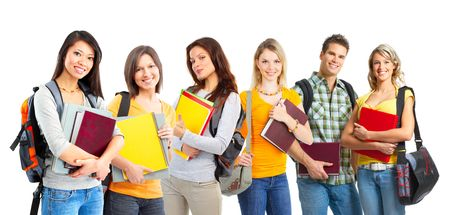 Large group of smiling  students. Isolated over white background Stock Photo - 6949129