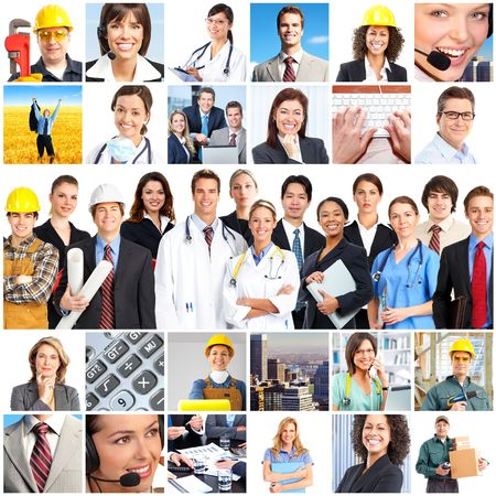group of workers: Large group of smiling workers people. Over white background