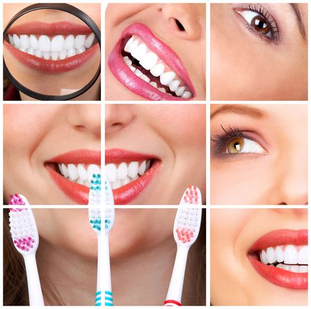 dentist smile: Beautiful young woman teeth. Isolated over  white background