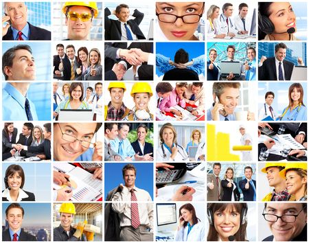 Set of smiling workers people. Business people, businessman, doctors, builders photo